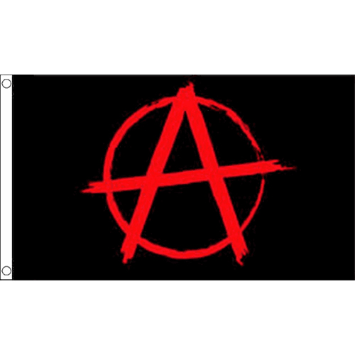 Anarchy Black Flag With Red Symbol Small Flag 3ft X 2ft Sex Pistols