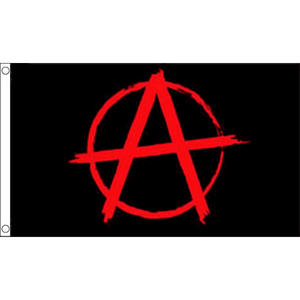 Anarchy Black Flag With Red Symbol Small Flag 3Ft X 2Ft Sex Pistols Chaos