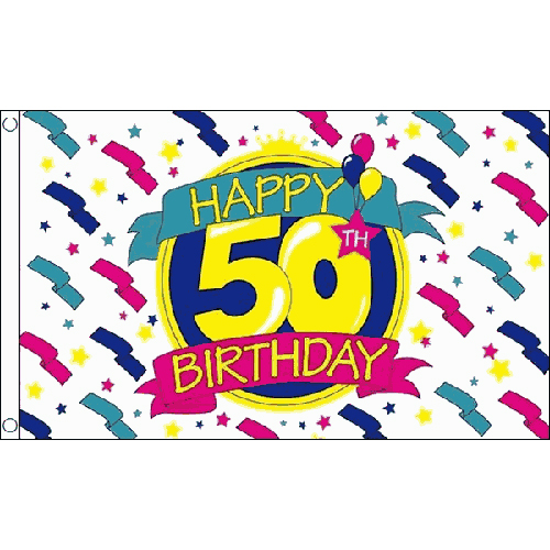Happy 50th birthday flag 5ft x 3ft celebration party banner with 2 sentinel happy 50th birthday flag 5ft x 3ft celebration party banner with 2 eyelets new publicscrutiny Images