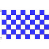 Blue & White Check Large Flag 8Ft X 5Ft Chequered Banner With 2 Metal Eyelets