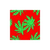 Red Bandana With Canabis Leaf Print Headwear Headscarf Doo Rag 54cm x 54cm