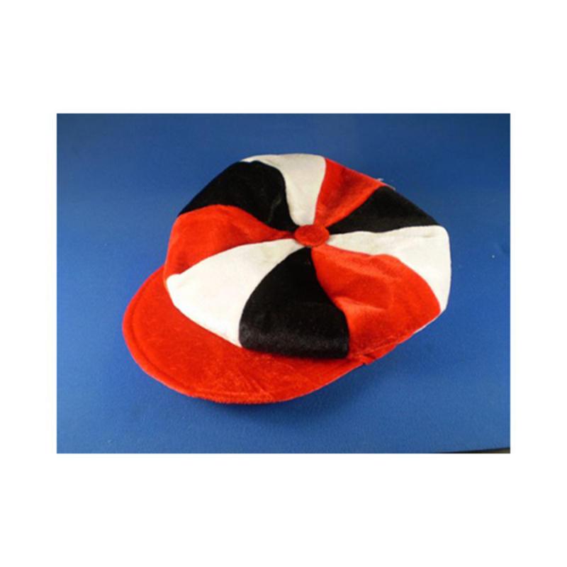 5c6ec2f836c Red White   Black Flat Cap Novelty Jockey Fancy Dress Hat Horse Racing