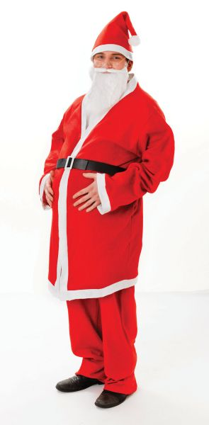 Mens Red & White Santa Outfit Fancy Dress Costume Father Christmas Xmas Outfit