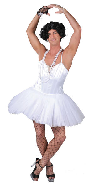 Mens White Male Ballerina Dancer Fancy Dress Costume Party Ballet Outfit Large
