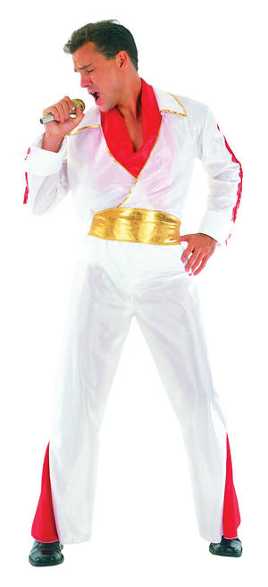Mens White Elvis Impersonator Fancy Dress Costume Music Star Rock N Roll Outfit