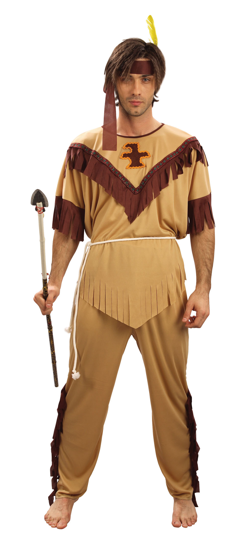 Mens Plus Size Red Indian Fancy Dress Costume Native American Xl