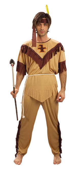 Mens Plus Size Red Indian Fancy Dress Costume Native American XL Party Outfit