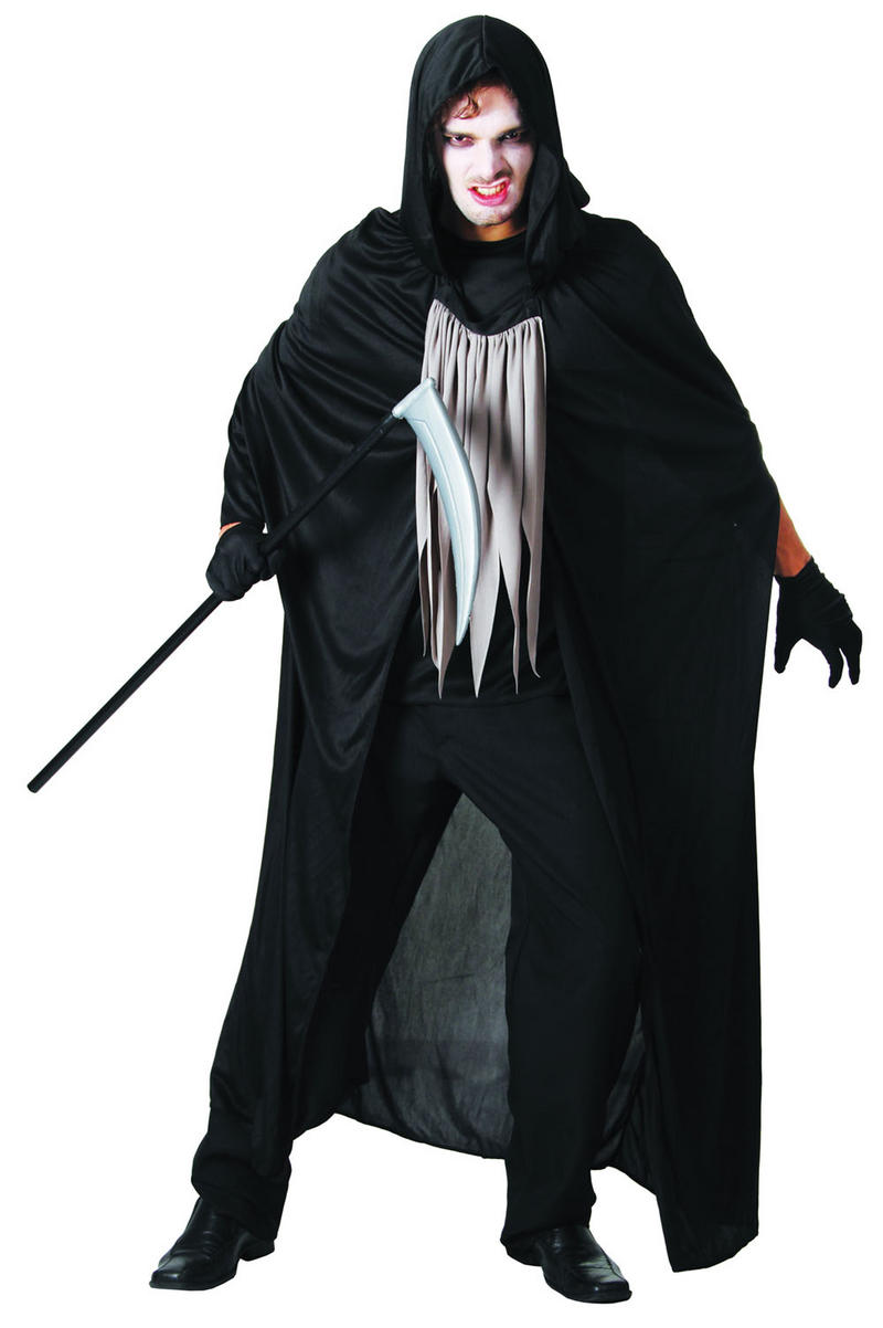 mens black white grim reaper fancy dress costume halloween death outfit new mens retail zone. Black Bedroom Furniture Sets. Home Design Ideas