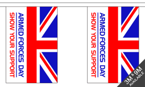 Armed Forces Day 9m Bunting (30 Flags) Military Banner