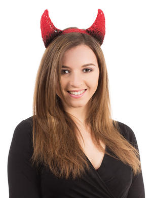 Black & Red Devil Horns On Headband Sexy Satan Fancy Dress Costume Accessory New