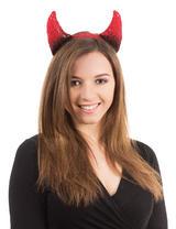 Black & Red Devil Horns On Headband Sexy Satan Fancy Dress Costume Accessory New