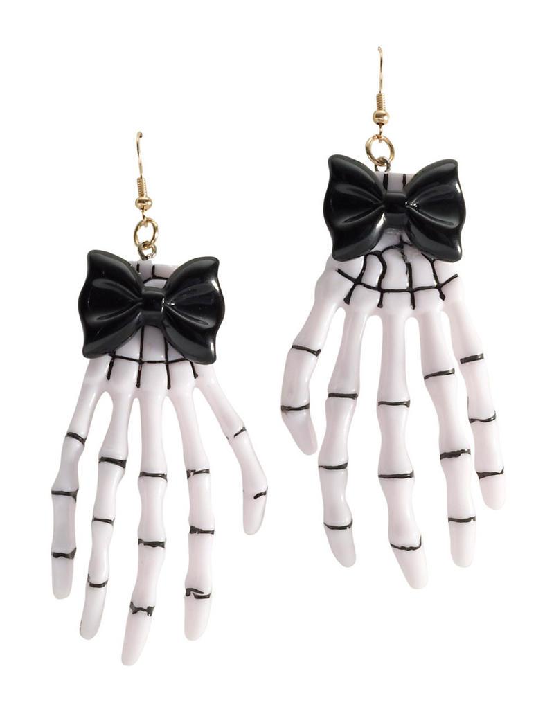Skeleton Hand Earrings Fancy Dress Costume Jewellery Halloween Gothic Accessory
