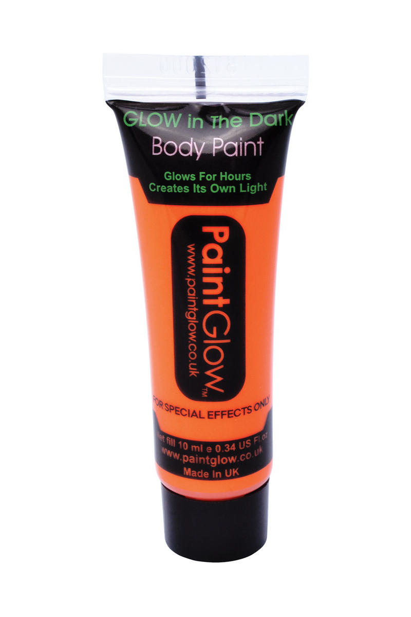 Glow In The Dark Orange Body Paint 10Ml Halloween Festival Make Up Accessory