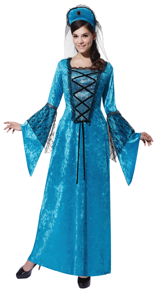 Blue Royal Princess Fancy Dress Costume Medieval Game Of Thrones Outfit New