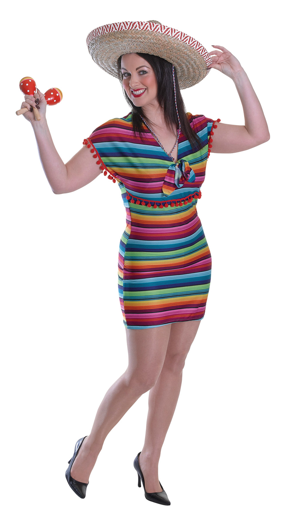 Multi Colour Mexican Lady Fancy Dress Costume Mexico Party Festival Outfit New