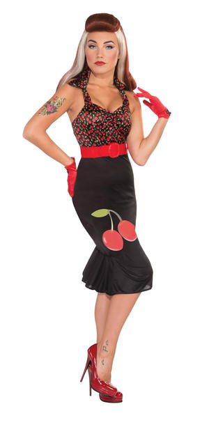 Ladies Black & Red Retro Rock N Roll Fancy Dress Costume Pin Up Girl UK 10-14