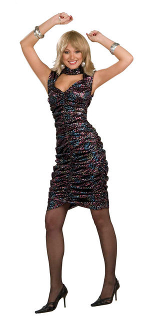 Ladies Black Glitter Disco Fancy Dress Costume 1980s 80s Womens Outfit UK 10-14