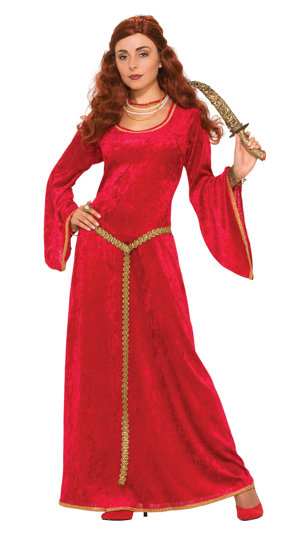 Red Sorceress Fancy Dress Costume Medieval Princess Game Of Thrones Outfit New