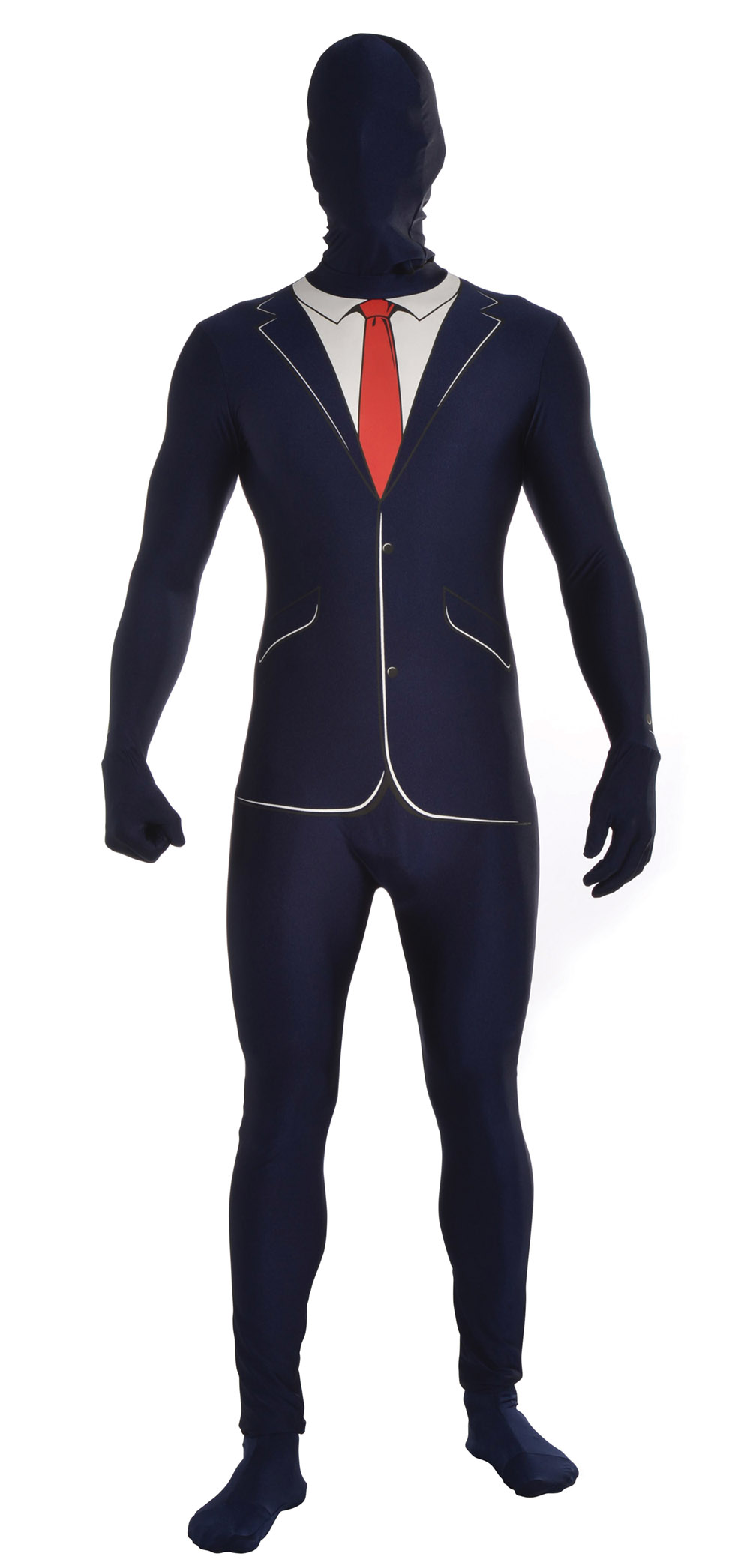 Business Suit Fancy Dress Costume Disappearing Man Jumpsuit Halloween Outfit