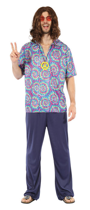 Mens Hippy Fancy Dress Costume Autsin Powers 1970S Psychedellic Outfit New