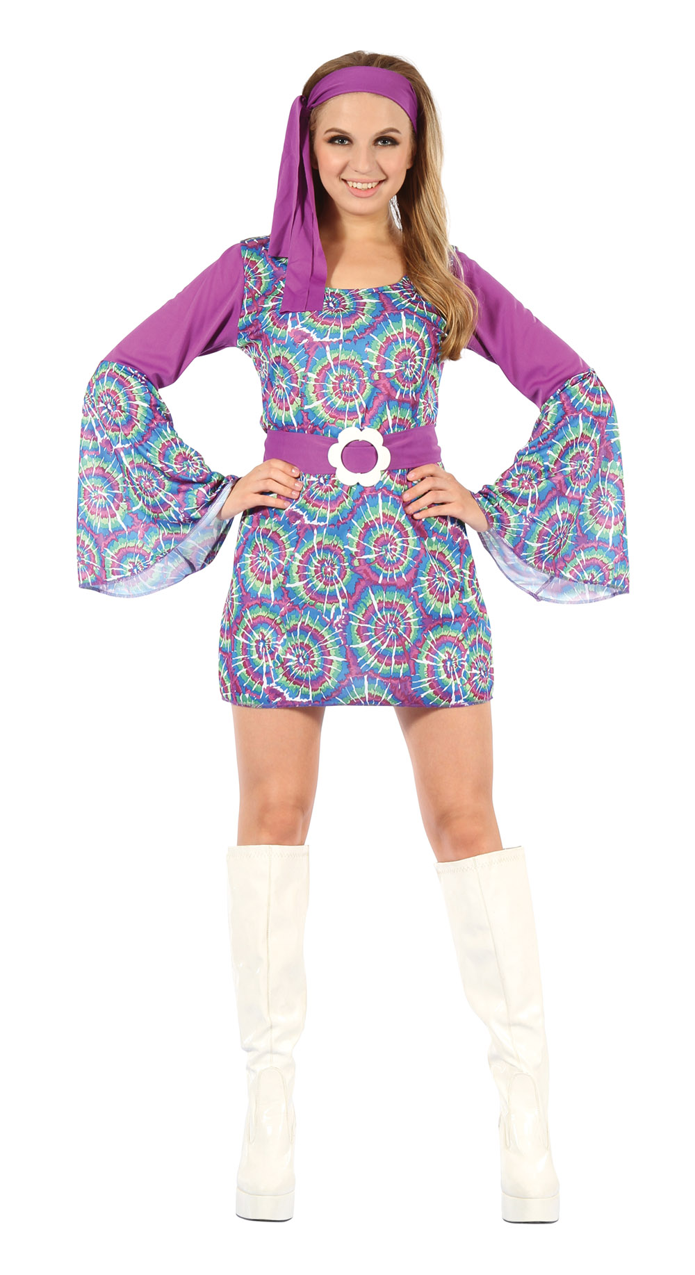 Womens Hippy Fancy Dress Costume Autsin Powers 1970S Psychedellic Outfit New