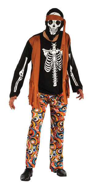 Mens Skeleton Hippy Fancy Dress Costume 1970S Dead Hippie Ghost Halloween Outfit