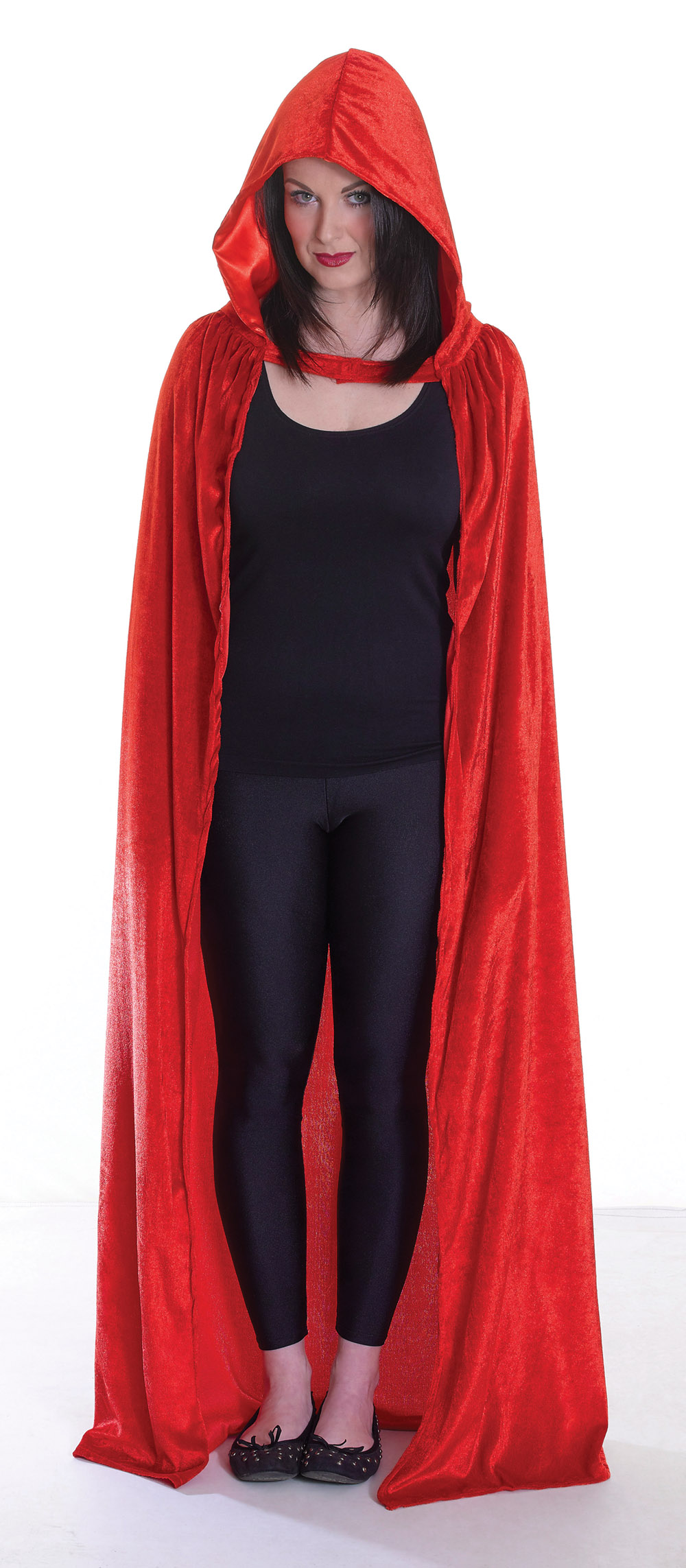 Red Velvet Cloak Fancy Dress Costume Red Riding Hood Fairy Tale Halloween Outfit