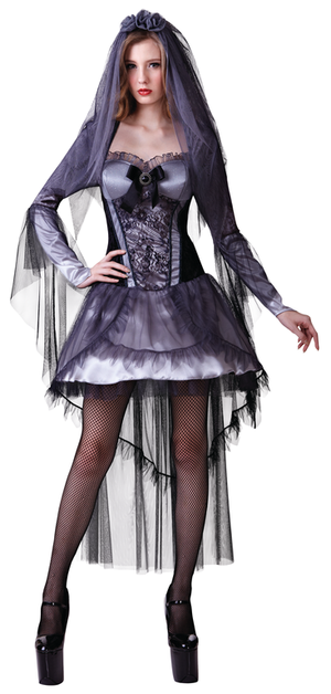 Gothic Bride Fancy Dress Costume Halloween Scary Zombie Witch Outfit New
