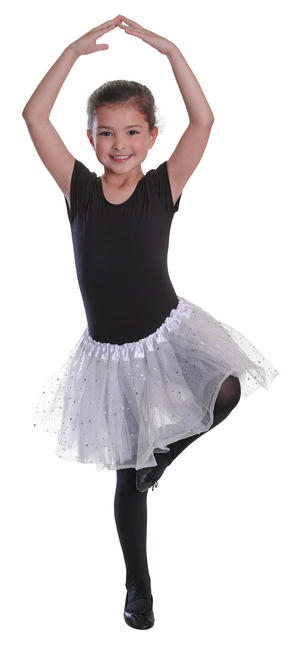 Childrens White Sequin Star Tutu Ballerina Fancy Dress Costume Fairy Tale Outfit