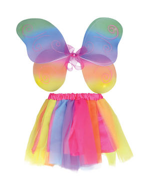 Childrens Rainbow Fairy Wings & Tutu Outfit Fairy Tale Fancy Dress Costume New