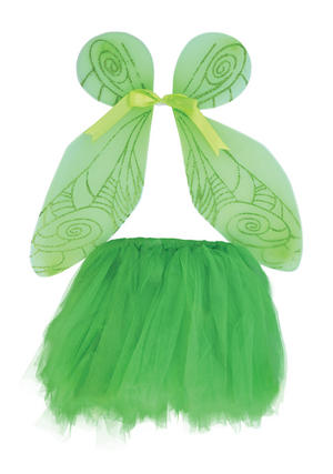 Childrens Green Fairy Wings & Tutu Tinkerbell Pixie Fancy Dress Costume New