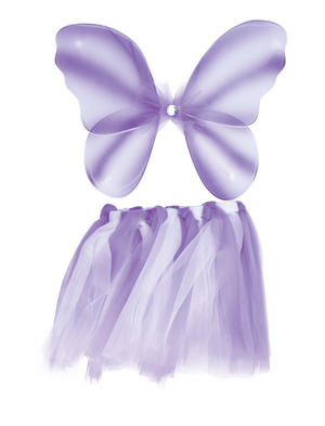 Childrens Lilac Fairy Wings & Tutu Fairy Take Princess Fancy Dress Costume New