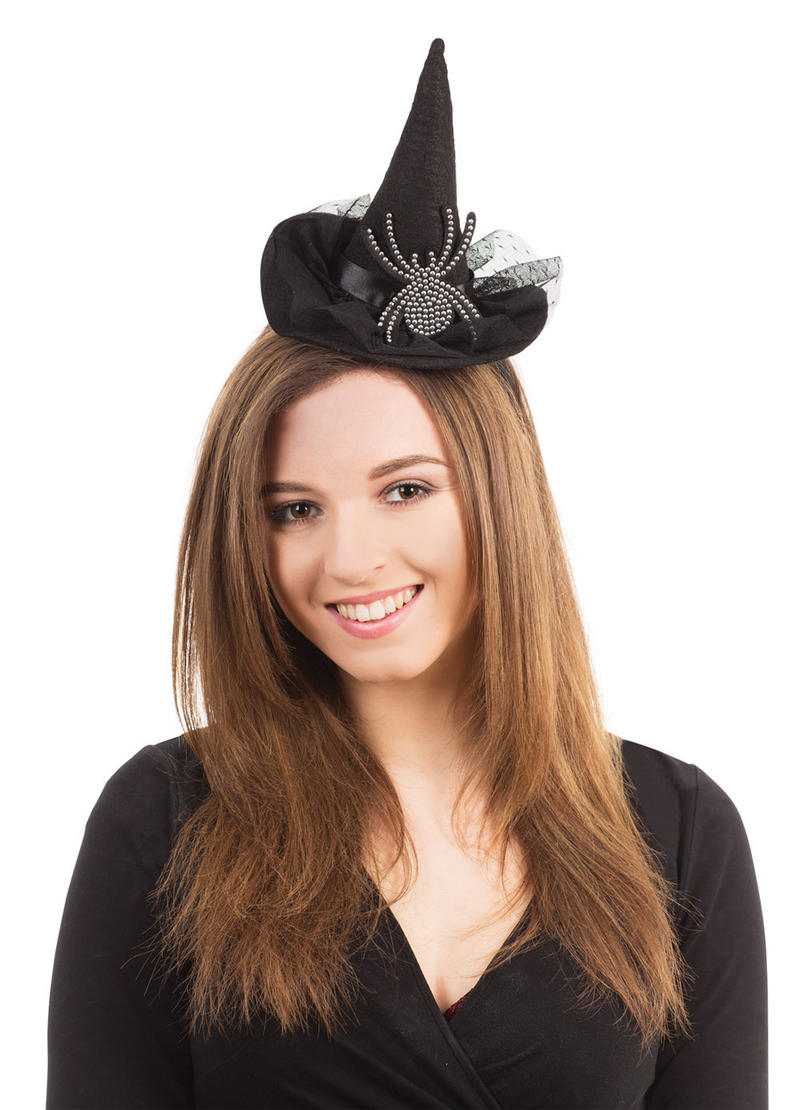 Black Witch Hat & Spider On Headband Halloween Fancy Dress Costume Accessory New