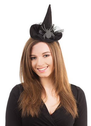 Black Witch Hat & Spider On Headband Halloween Fancy Dress Costume Accessory New