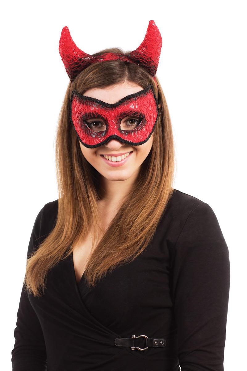 Devil Mask & Horns Halloween Fancy Dress Costume Accessory Masquerade Ball Set