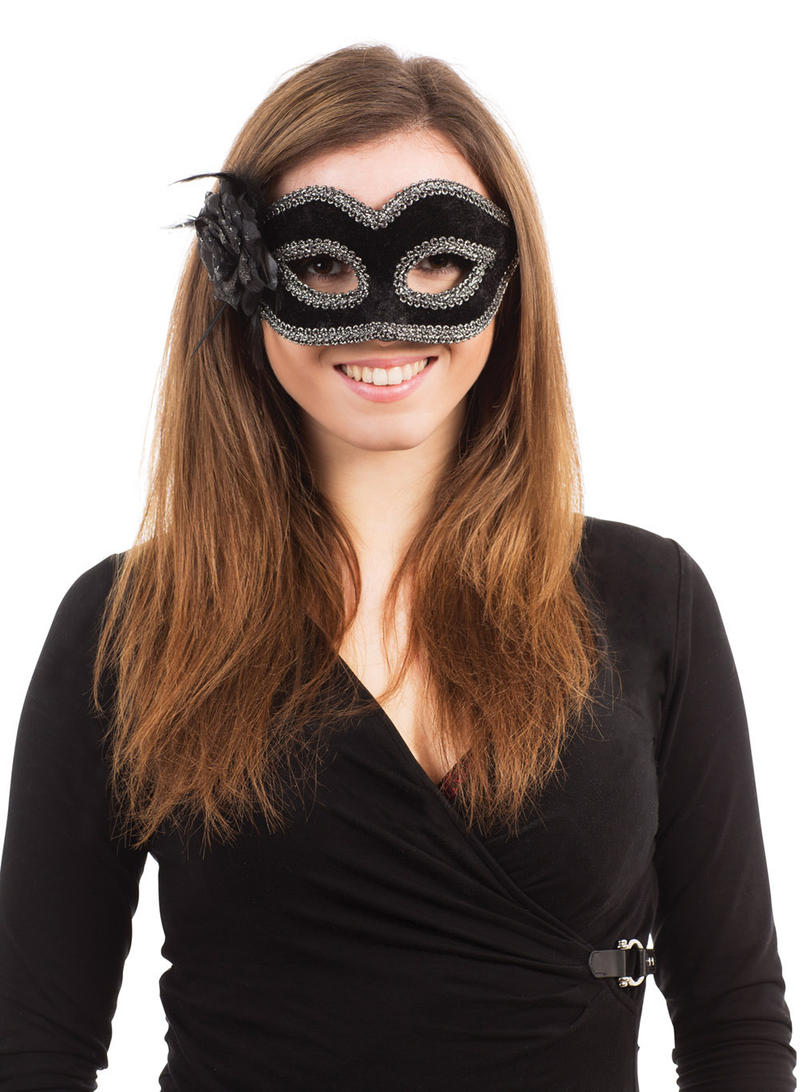 Black Mask With Flower Masquerade Ball Venetian Fancy Dress Costume Accessory