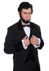 Black Abraham Lincoln Wig & Beard Fancy Dress Costume 1800S Accessory Set New