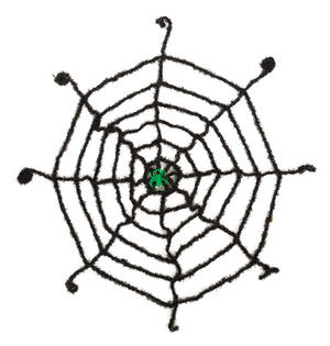 Black Spider Web With Green Spider Halloween Fancy Dress Party Accessory Prop