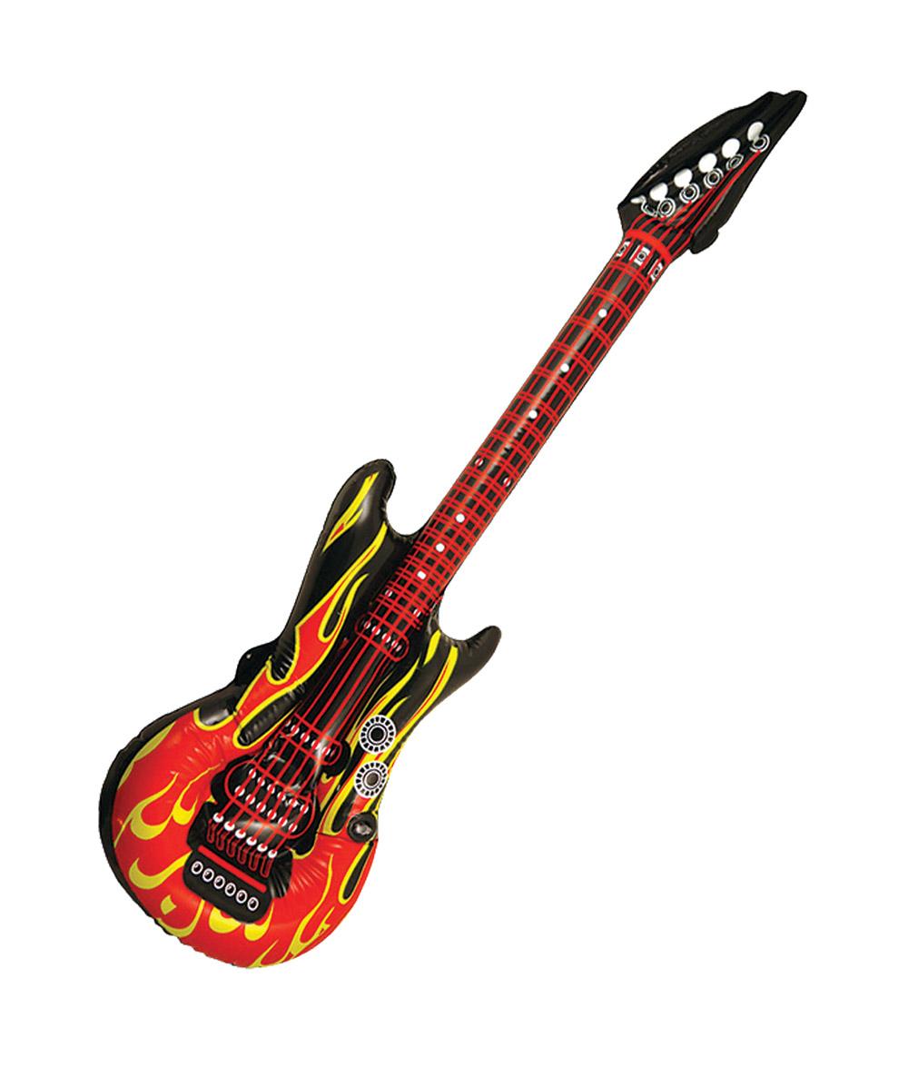 Inflatable Flame Guitar Rock Star Fancy Dress Costume Accessory Pop Singer Prop