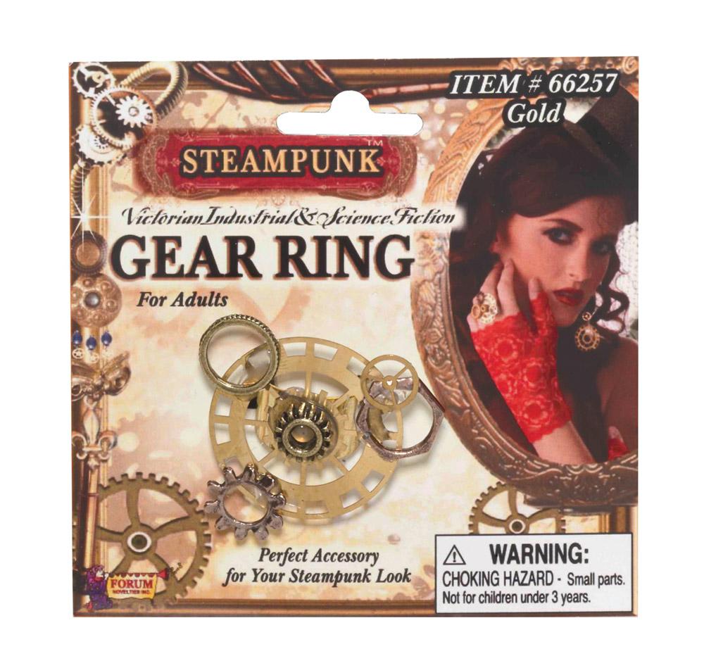 Steampunk Gear Ring Victorian Fancy Dress Costume Jewellery Industrial Accessory