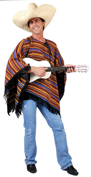 Adult Mexican Poncho Fancy Dress Costume Mexico Mariachi Cowboy Western Outfit