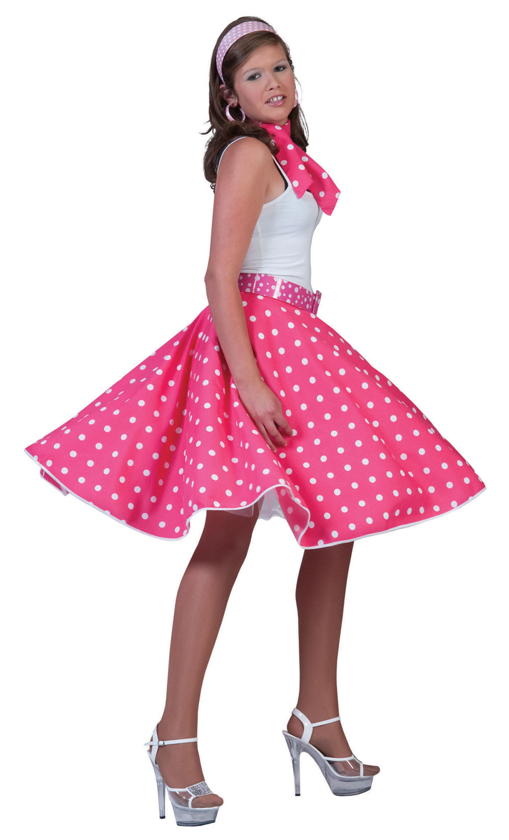 Ladies Pink White Polka Dot Skirt 1950S Fancy Dress Costume Rock N Roll UK 10-14
