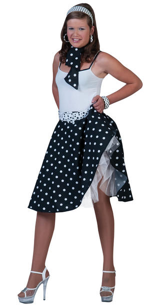 Ladies Black White Polka Dot Skirt 50S Fancy Dress Costume Rock N Roll UK 10-14