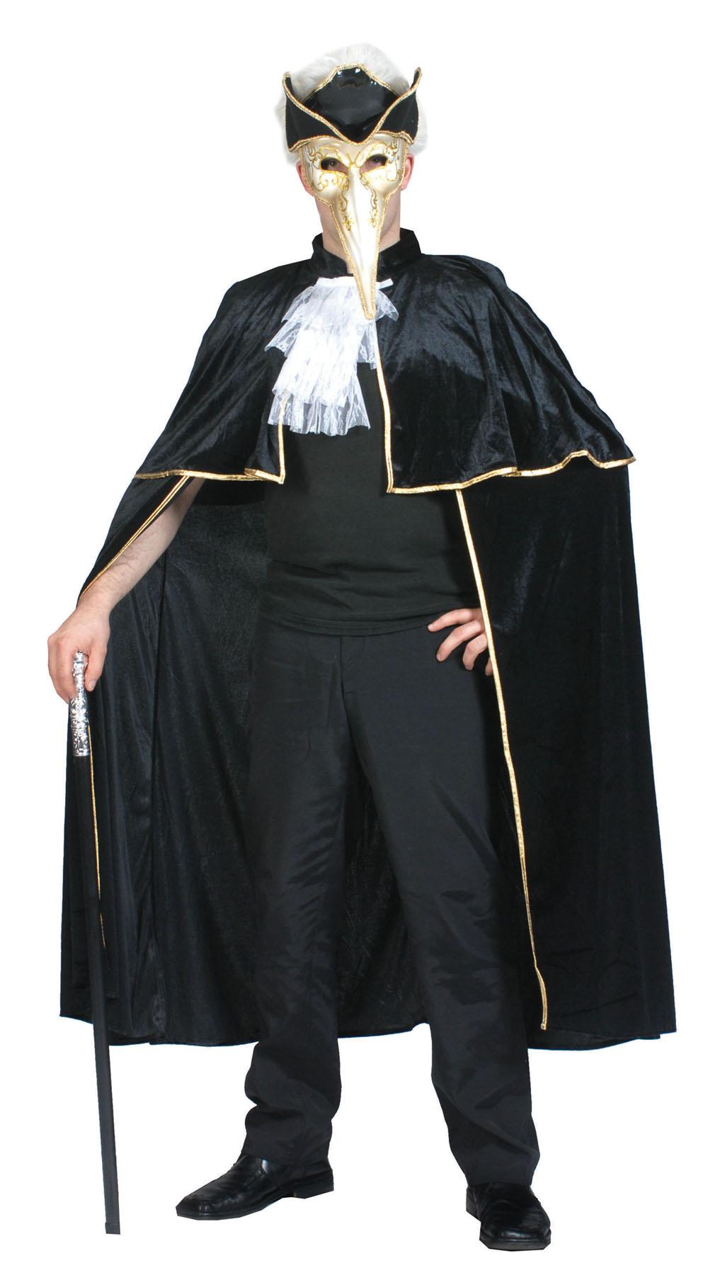 Venetian Cape Fancy Dress Costume Masquerade Ball Phantom Halloween Outfit Party