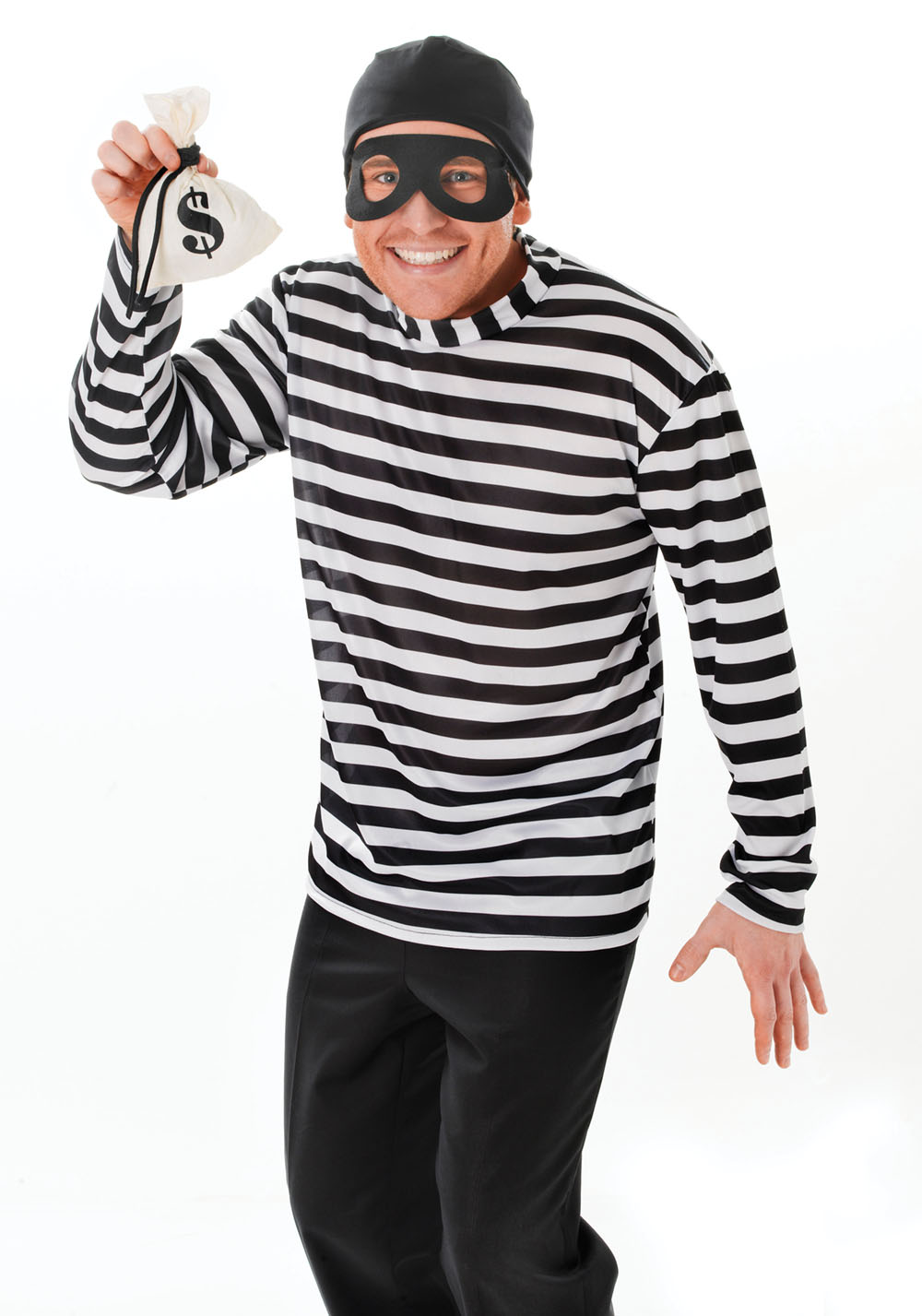 Adult Burglar Fancy Dress Costume Cops And Robbers Theif Halloween Outfit Party