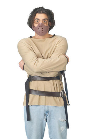 Adult Straight Jacket Fancy Dress Costume Hannibal Lecter Halloween Outfit Party