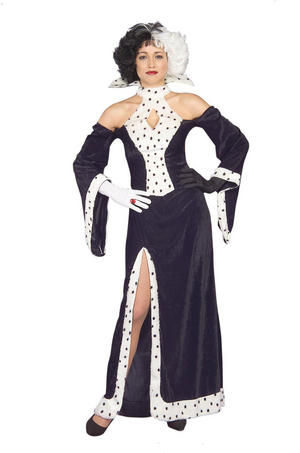 Womens Cruella De Vil Fancy Dress Costume Disney 101 Dalmatians Halloween Outfit