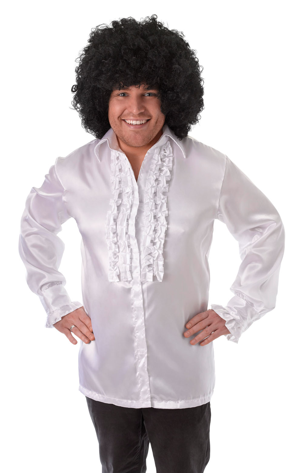 Mens White Ruffle Shirt 1970S Fancy Dress Costume Austin Powers Groovy Outfit