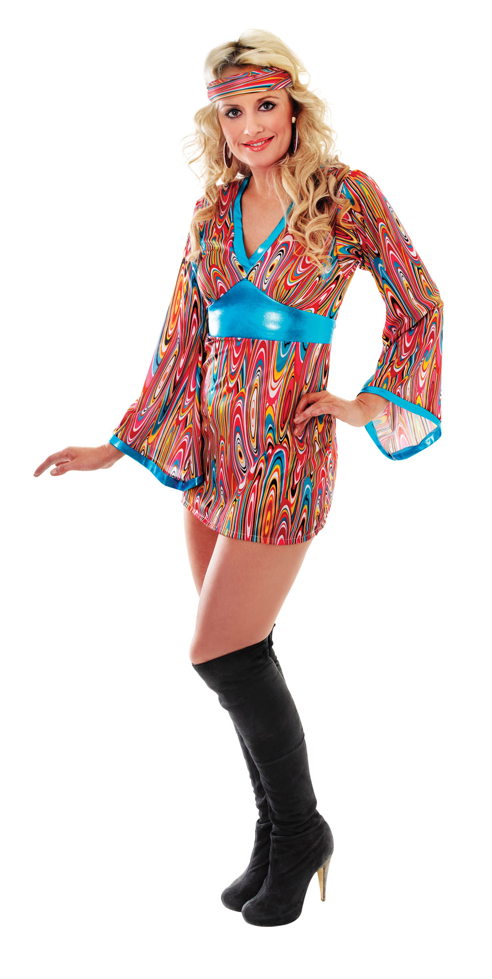 Womens Psychedelic Fancy Dress Costume 1970S Groovy Austin Powers Outfit Party