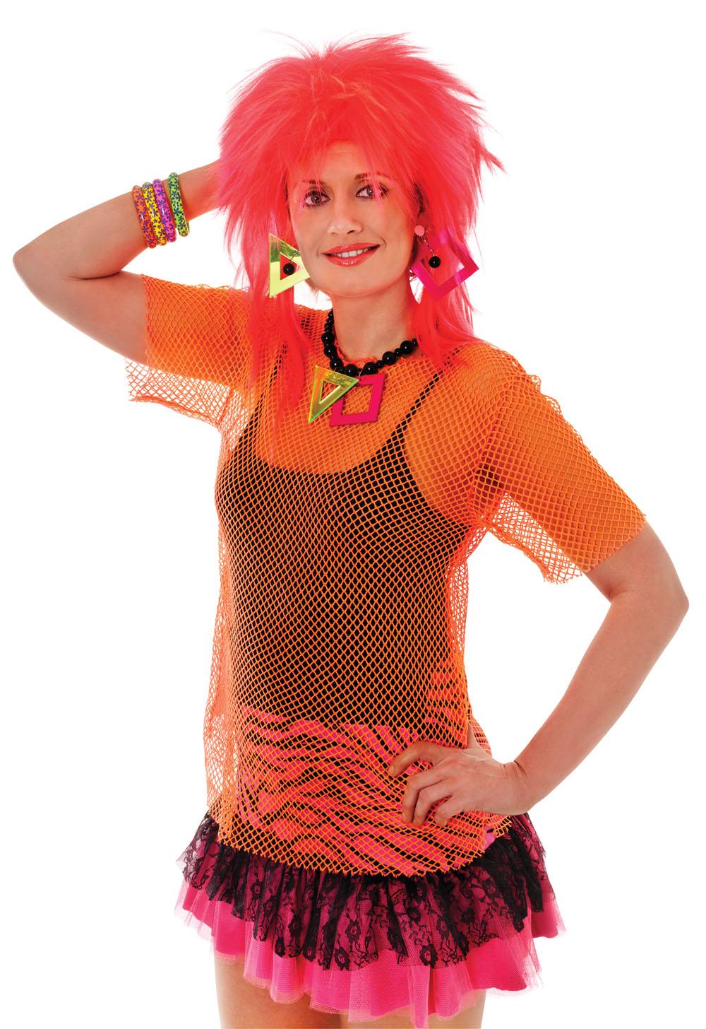 Womens Orange Mesh Top Fancy Dress Costume Punk Rocker 1980S Emo Rave Outfit